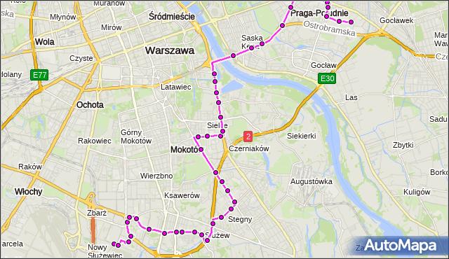 Mapa Polski Targeo, Autobus 141 - trasa BOKSERSKA - WITOLIN. ZTM Warszawa na mapie Targeo
