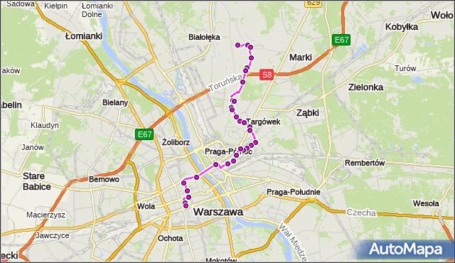 Mapa Polski Targeo, Autobus N11 - trasa SKARBKA Z GÓR - DW.CENTRALNY. ZTM Warszawa na mapie Targeo