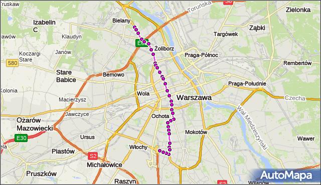 Mapa Polski Targeo, Tramwaj 17 - trasa TWARDOWSKA - SŁUŻEWIEC. ZTM Warszawa na mapie Targeo