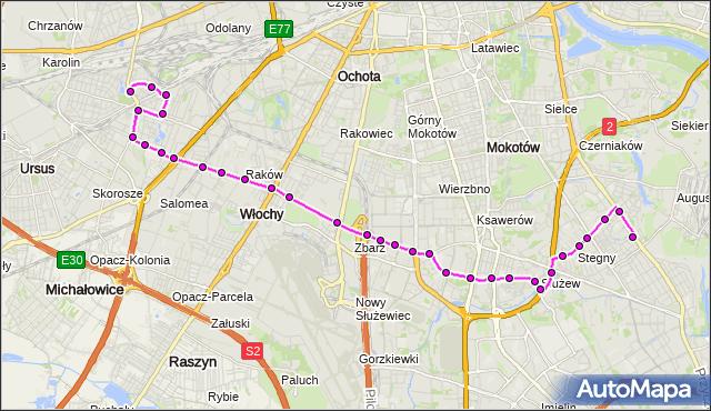 Mapa Polski Targeo, Autobus 189 - trasa SADYBA - WAŁOWICKA. ZTM Warszawa na mapie Targeo