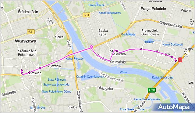 Mapa Polski Targeo, Autobus 411 - trasa GOCŁAW - METRO POLITECHNIKA. ZTM Warszawa na mapie Targeo