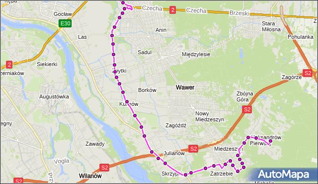 Mapa Polski Targeo, Autobus 142 - trasa ALEKSANDRÓW - WIATRACZNA. ZTM Warszawa na mapie Targeo