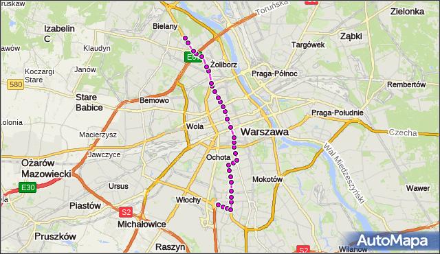 Mapa Polski Targeo, Tramwaj 17 - trasa SŁUŻEWIEC - TWARDOWSKA. ZTM Warszawa na mapie Targeo