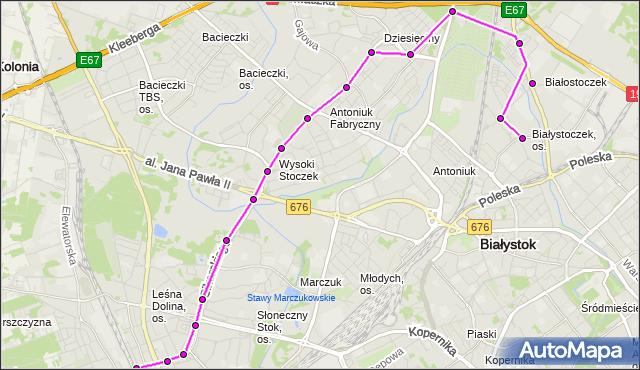 Mapa Polski Targeo, Autobus 25 - trasa - ZIELONE WZGÓRZA(583)(nr inw. 583). BKM na mapie Targeo