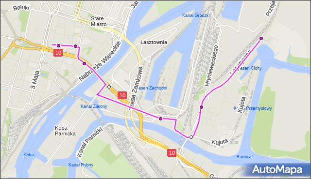 Mapa Polski Targeo, Autobus 76 - trasa Tkacka - Logistyczna. ZDiTM Szczecin na mapie Targeo