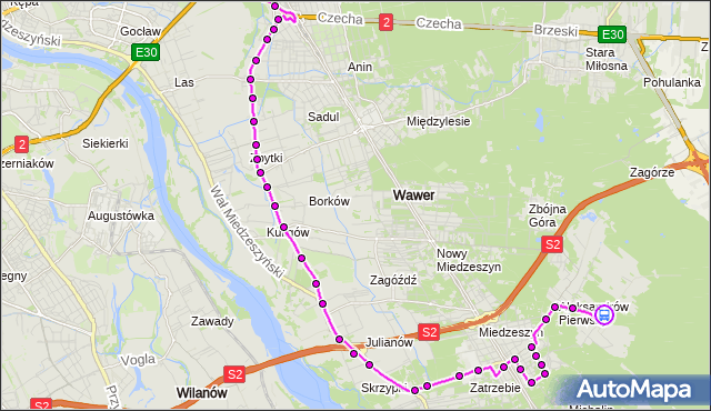 Rozkład jazdy autobusu 142 na przystanku Aleksandrów 01. ZTM Warszawa na mapie Targeo