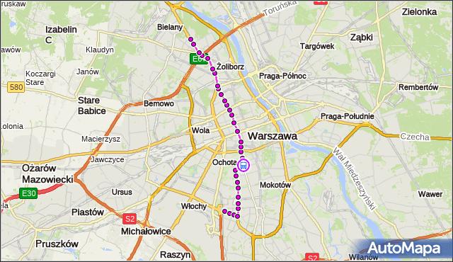 Rozkład jazdy tramwaju 17 na przystanku Metro Pole Mokotowskie 04. ZTM Warszawa na mapie Targeo