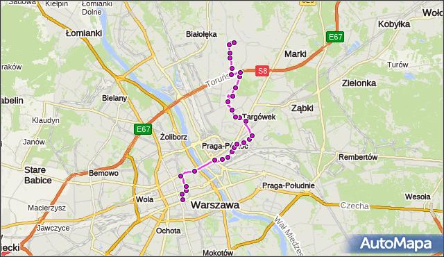 Mapa Polski Targeo, Autobus N11 - trasa DW.CENTRALNY - SKARBKA Z GÓR. ZTM Warszawa na mapie Targeo