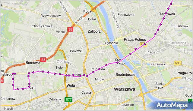 Mapa Polski Targeo, Autobus 190 - trasa OS.GÓRCZEWSKA - CH MARKI MK. ZTM Warszawa na mapie Targeo
