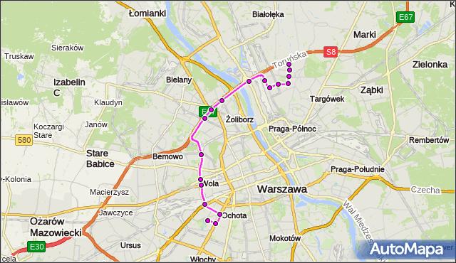 Mapa Polski Targeo, Autobus 414 - trasa SZCZĘŚLIWICE - BRÓDNO-PODGRODZIE. ZTM Warszawa na mapie Targeo