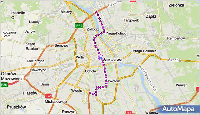 Rozkład jazdy tramwaju 18 na przystanku Centrum 08. ZTM Warszawa na mapie Targeo