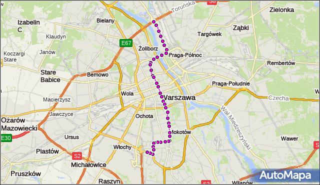 Mapa Polski Targeo, Tramwaj 18 - trasa ŻERAŃ FSO - SŁUŻEWIEC. ZTM Warszawa na mapie Targeo