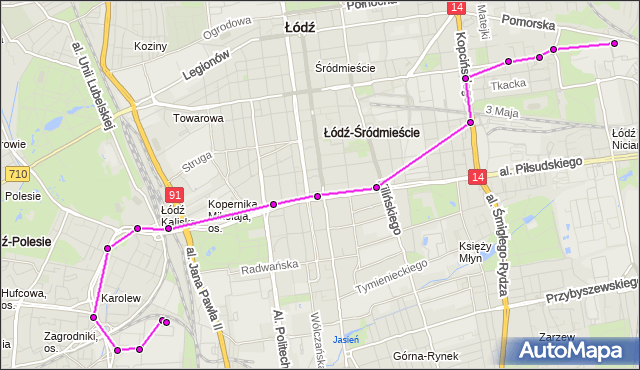 Mapa Polski Targeo, Autobus 73 - trasa - zajezdnia NOWE SADY. MPKLodz na mapie Targeo