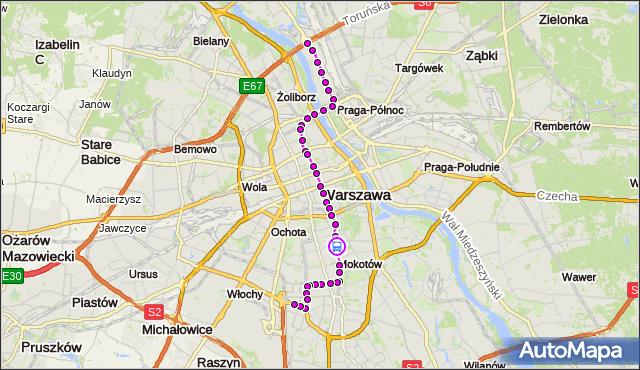 Rozkład jazdy tramwaju 18 na przystanku Dworkowa 05. ZTM Warszawa na mapie Targeo