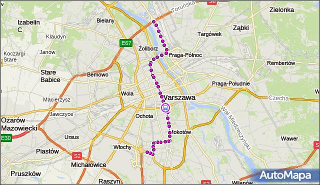 Rozkład jazdy tramwaju 18 na przystanku Trasa Łazienkowska 01. ZTM Warszawa na mapie Targeo