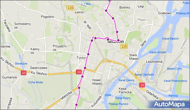 Mapa Polski Targeo, Tramwaj 12 - trasa Dworzec Niebuszewo - Pomorzany. ZDiTM Szczecin na mapie Targeo