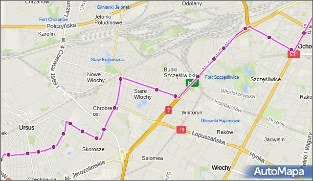 Mapa Polski Targeo, Autobus 191 - trasa PL.NARUTOWICZA - REGULSKA. ZTM Warszawa na mapie Targeo