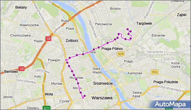 Mapa Polski Targeo, Autobus N12 - trasa TARGÓWEK - DW.CENTRALNY. ZTM Warszawa na mapie Targeo