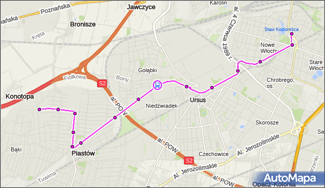 Rozkład jazdy autobusu 716 na przystanku Śmigielska 02. ZTM Warszawa na mapie Targeo