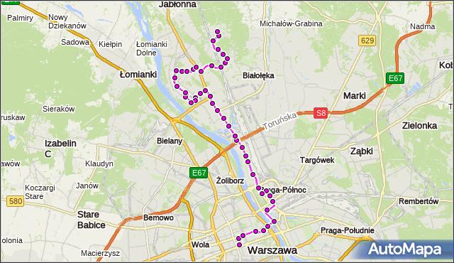 Mapa Polski Targeo, Autobus N13 - trasa DW.CENTRALNY - CHOSZCZÓWKA. ZTM Warszawa na mapie Targeo
