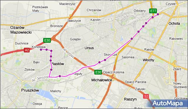 Mapa Polski Targeo, Autobus 717 - trasa DW.ZACHODNI - OGIŃSKIEGO PT. ZTM Warszawa na mapie Targeo