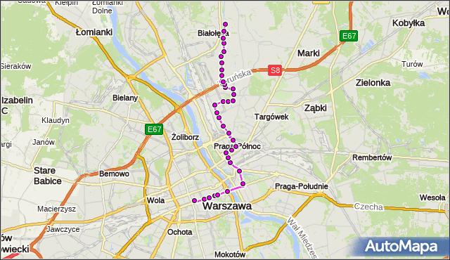 Mapa Polski Targeo, Autobus N14 - trasa DW.CENTRALNY - BRZEZINY. ZTM Warszawa na mapie Targeo