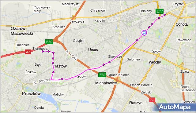 Rozkład jazdy autobusu 717 na przystanku PKP WKD Al.Jerozolimskie 02. ZTM Warszawa na mapie Targeo