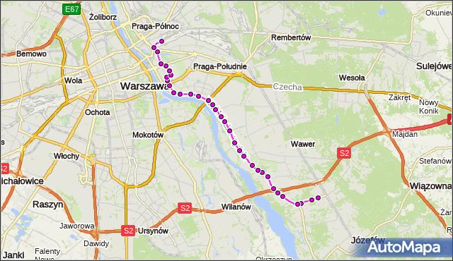 Mapa Polski Targeo, Autobus 146 - trasa FALENICA - DW.WSCHODNI (KIJOWSKA). ZTM Warszawa na mapie Targeo