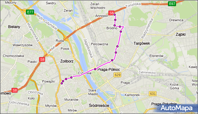 Mapa Polski Targeo, Autobus 500 - trasa RONDO