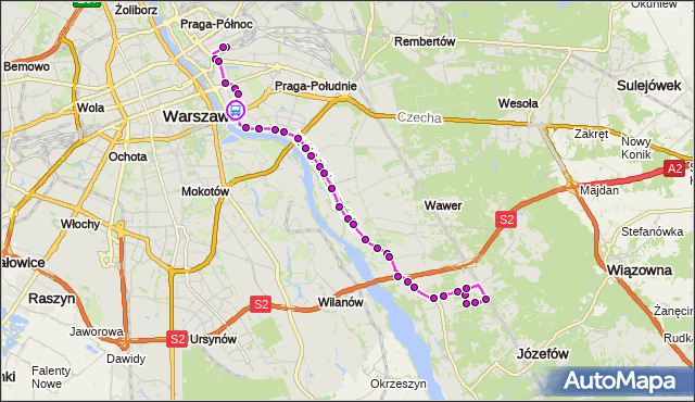 Rozkład jazdy autobusu 146 na przystanku Meksykańska 01. ZTM Warszawa na mapie Targeo
