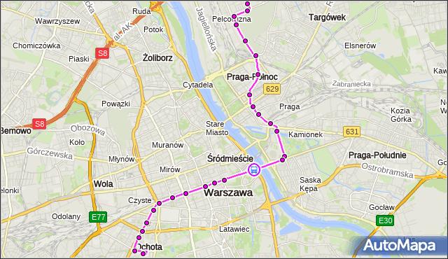 Rozkład jazdy tramwaju 25 na przystanku most Poniatowskiego 04. ZTM Warszawa na mapie Targeo