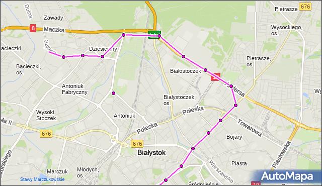 Mapa Polski Targeo, Autobus 16 - trasa - GAJOWA/JARZĘBINOWA(127)(nr inw. 127). BKM na mapie Targeo