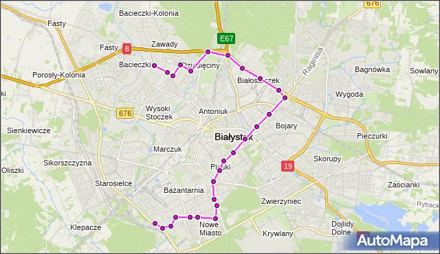 Mapa Polski Targeo, Autobus 16 - trasa - PADEREWSKIEGO/PĘTLA(296)(nr inw. 296). BKM na mapie Targeo