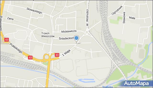 Częstochowa, 1 Maja, mapa Częstochowy