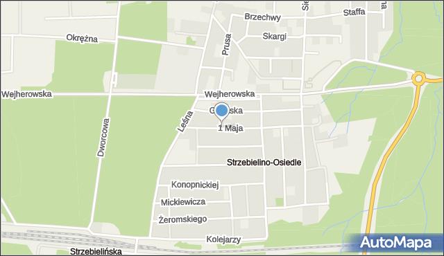 Strzebielino, 1 Maja, mapa Strzebielino