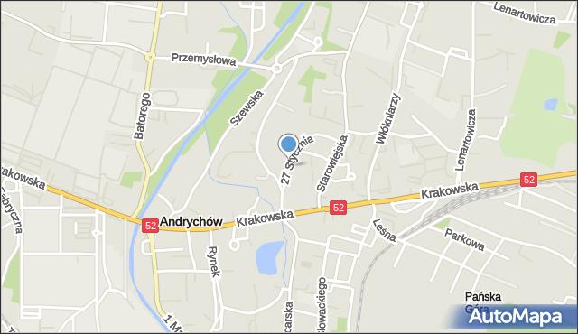 Andrychów, 27 Stycznia, mapa Andrychów
