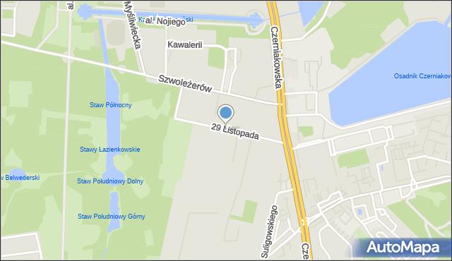 Warszawa, 29 Listopada, mapa Warszawy
