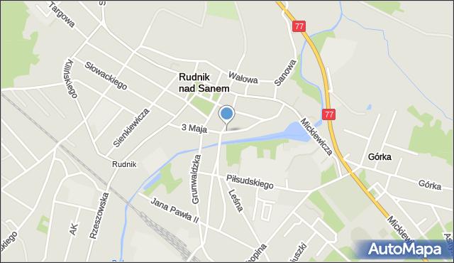 Rudnik nad Sanem, 3 Maja, mapa Rudnik nad Sanem