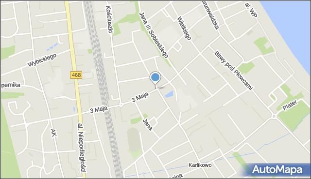 Sopot, 3 Maja, mapa Sopotu