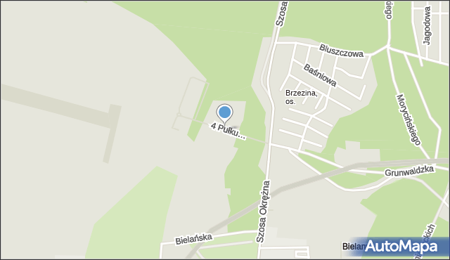 Toruń, 4 Pułku Lotniczego, mapa Torunia