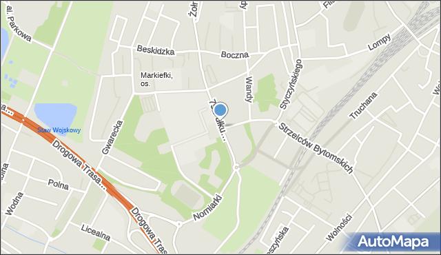 Chorzów, 75 Pułku Piechoty, mapa Chorzów