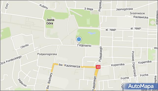 Częstochowa, 7 Kamienic, mapa Częstochowy