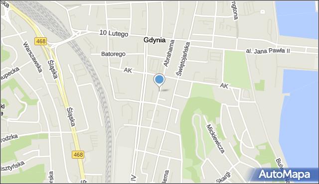 Gdynia, Abrahama Antoniego, mapa Gdyni