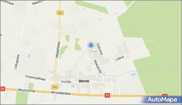 Błonie gmina Miękinia, Akacjowa, mapa Błonie gmina Miękinia