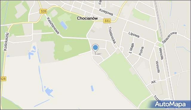Chocianów, Akacjowa, mapa Chocianów