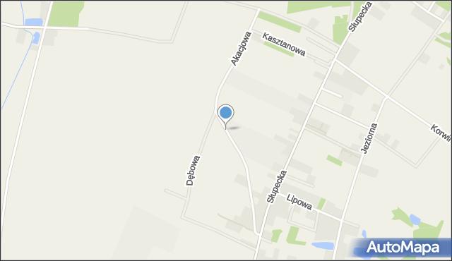 Piotrowice gmina Słupca, Akacjowa, mapa Piotrowice gmina Słupca