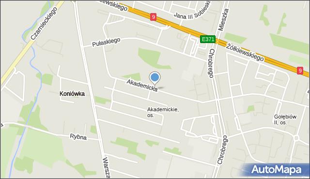 Radom, Akademicka, mapa Radomia