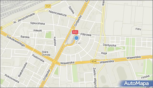Warszawa, Akademicka, mapa Warszawy
