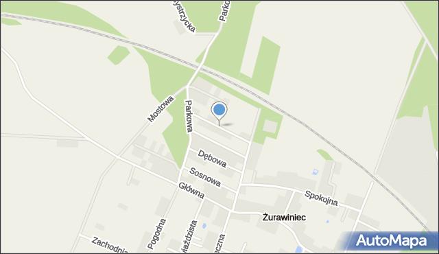 Żurawiniec gmina Miękinia, Akacjowa, mapa Żurawiniec gmina Miękinia