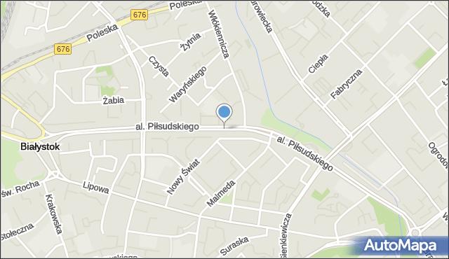 Białystok, Aleja Piłsudskiego Józefa, marsz., mapa Białegostoku